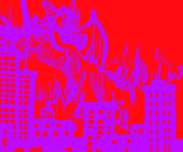 Giant dragon cast fire down on a city