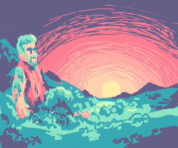 giant stands on mountain watching the sunset
