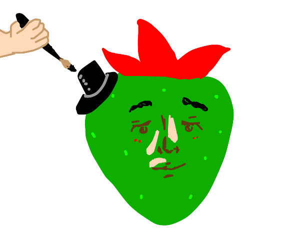 Green strawberry with hat and face painted on