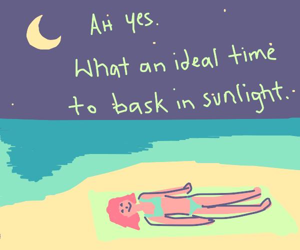 Elongated woman sunbathes at night