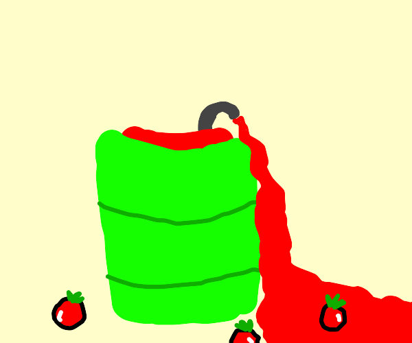 neon barrel of tomato juice with open tap