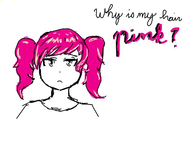 Anime girl wonders why her hair is pink