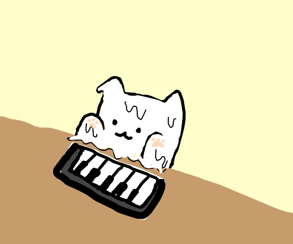 Melting piano cat