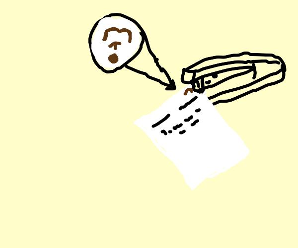 A brown staple