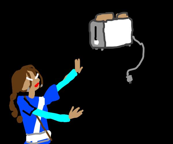 Katara Practices toaster bending.