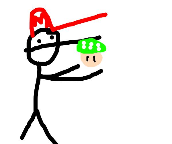 Mario presents a 1-up