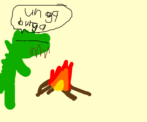 Caveman dinosaur has started a fire