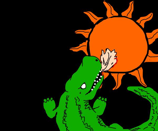 Crocodile eating the Sun