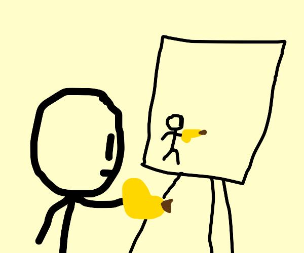 Someone drawing a stickman using a banana