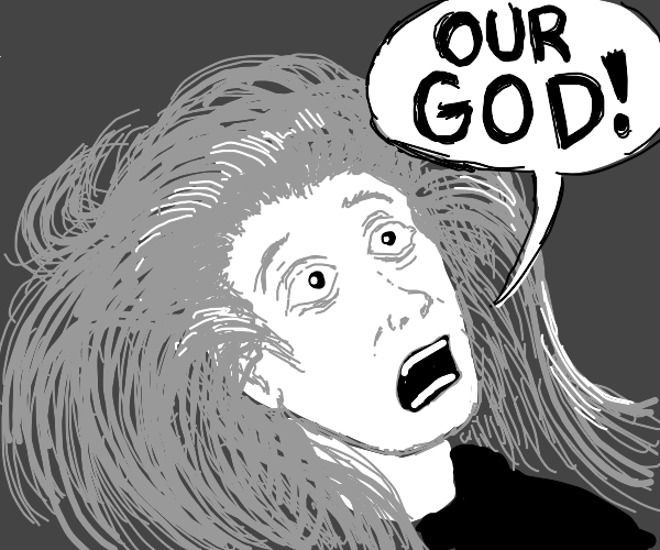 man saying OUR GOD!! with grey hair