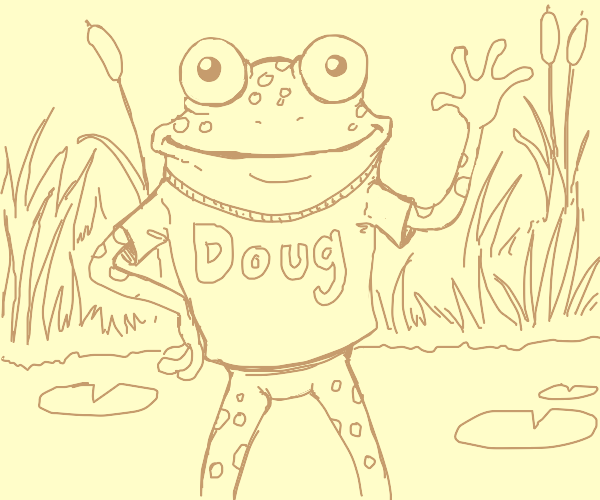 """a frog wearing a shirt that says """"Doug"""""""