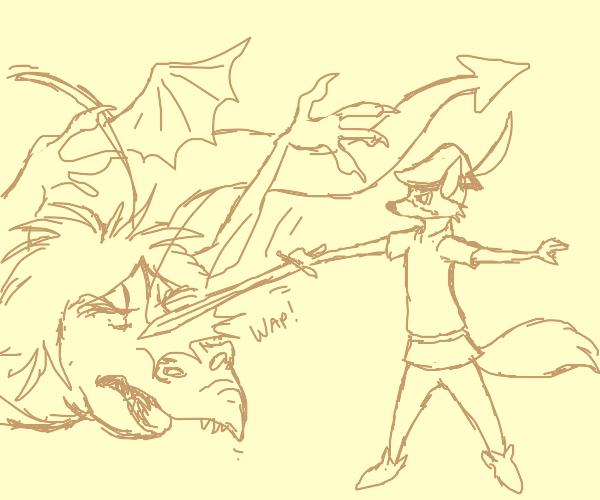 robin hood fighting a dragon