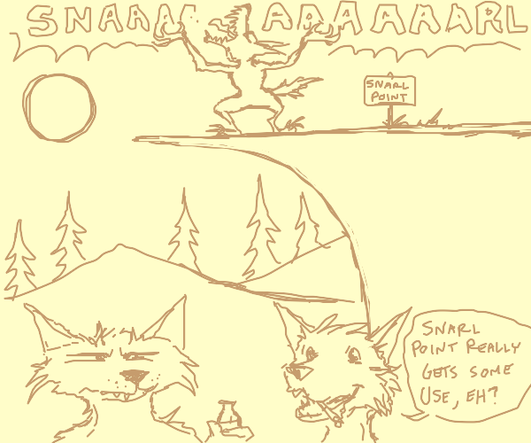angry werewolf on a cliff