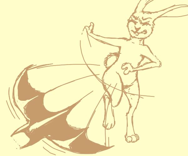 angry bunny throws batarang