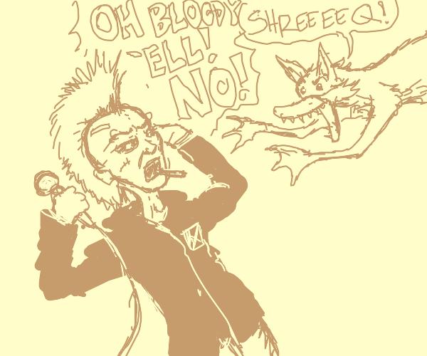Mutant duck fox attacking a punk rocker