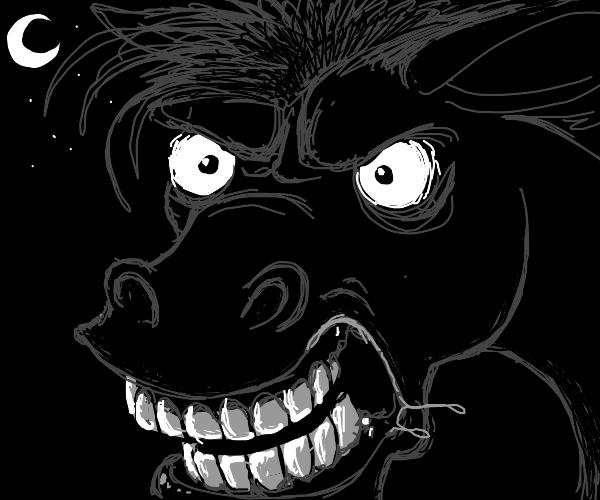 angry horse at night