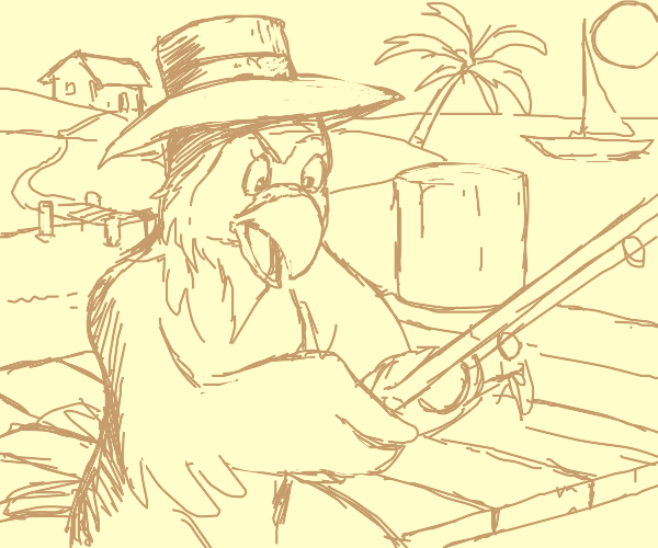 A parrot fishing