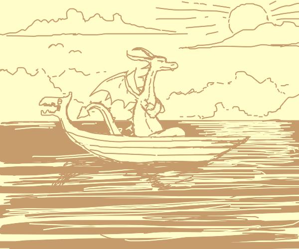 Dragon in a boat at sea