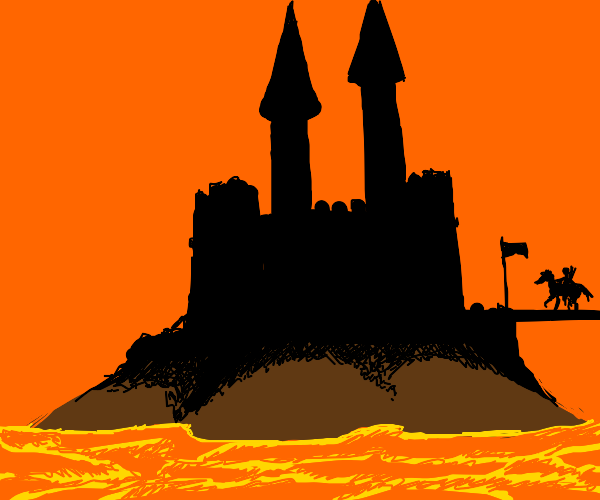 castle surrounded by lava