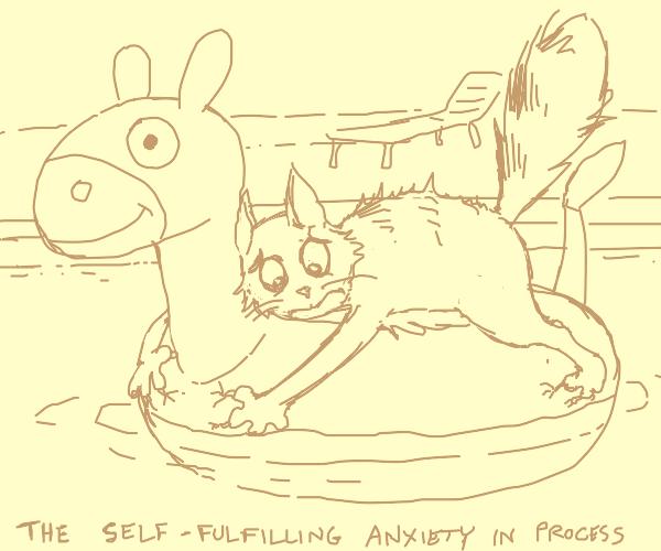 Cat on a floatie