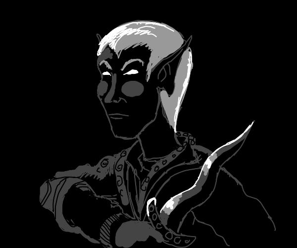 Dark elf with a knife