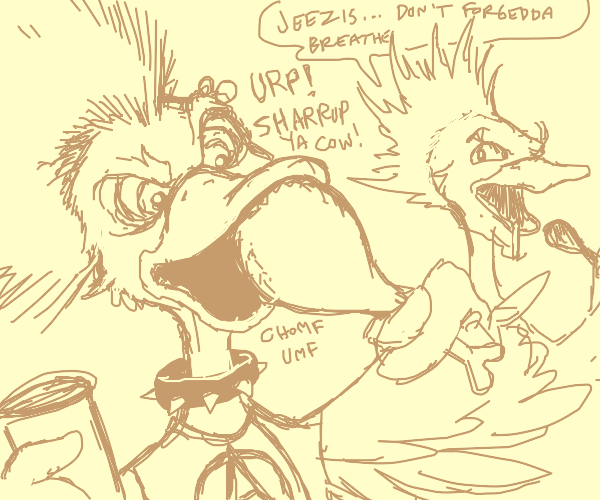 Punk duck stuffs his face