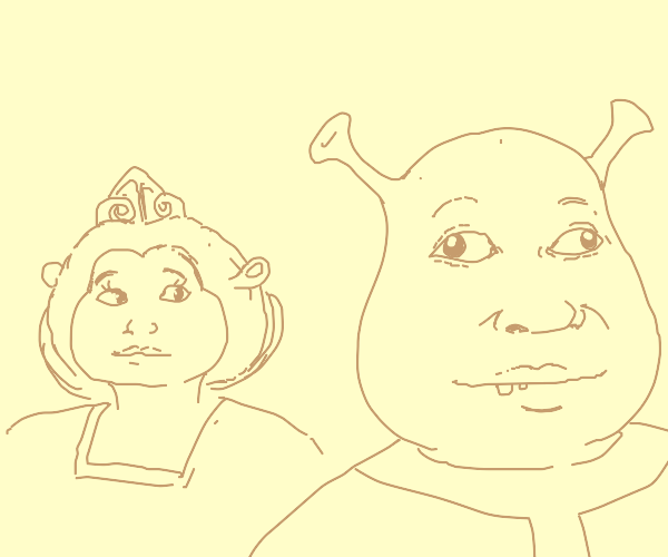 Fiona glances at Shrek, he's oblivious