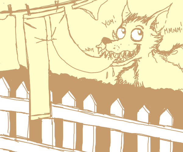 Werewolf eats pants