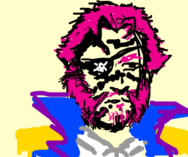 Pink haired pirate with paint on his face