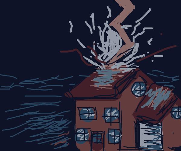 Lightning strike home