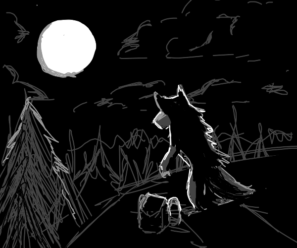Werewolf with a backpack looks at the moon