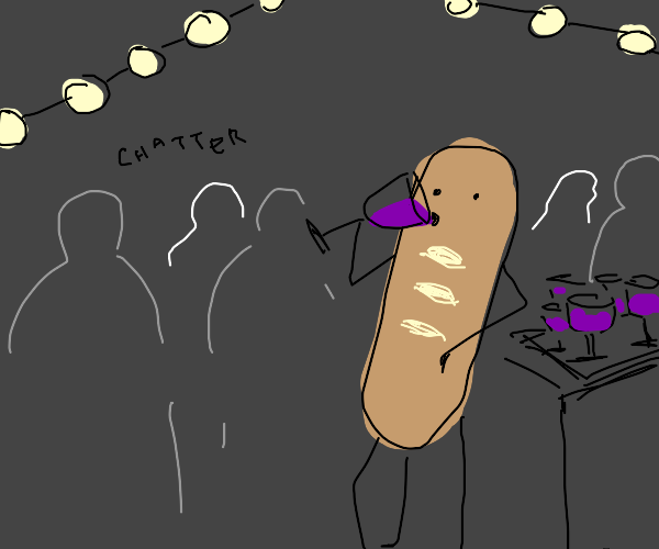 Baguette drinks wine at a fancy party