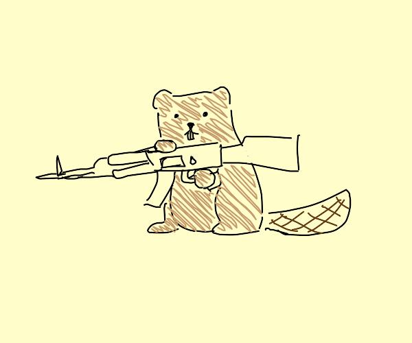 Crazy Beaver with gun