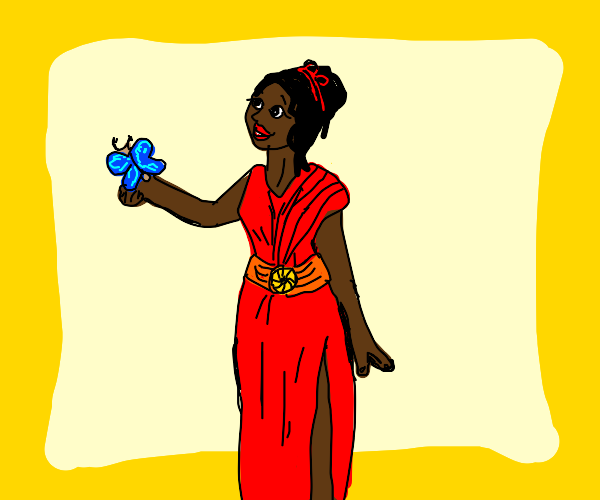 black woman in a red dress with a butterfly