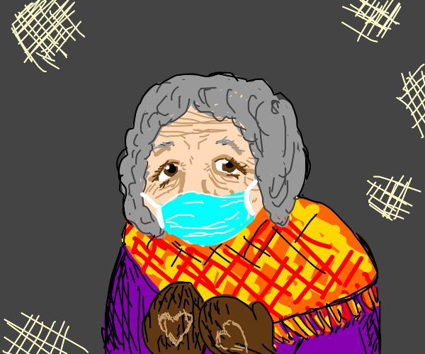 old woman with mask and brown mittens