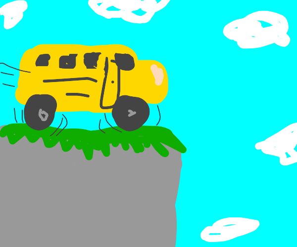 School bus about to drive off a cliff