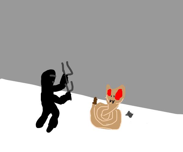Ninja fights a snake