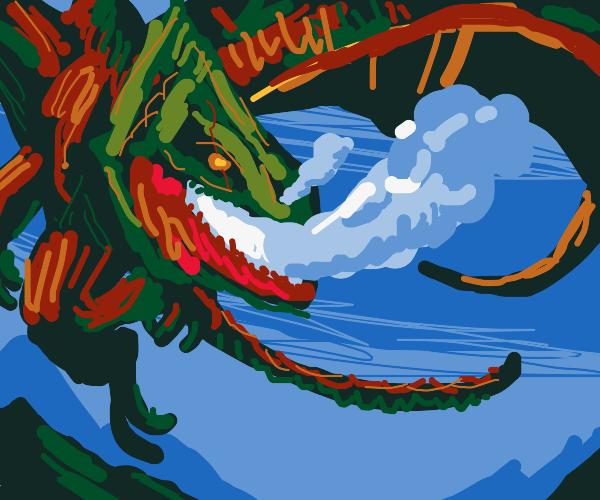 Battle-scarred dragon breathes hot smoke