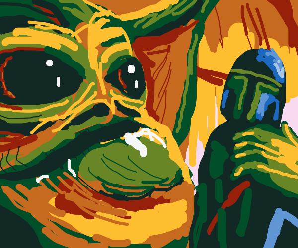 Jabba looks at Mandalorian menacingly