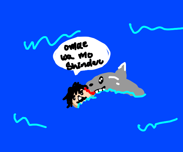 Guy sayAnime reference while eaten by a shark