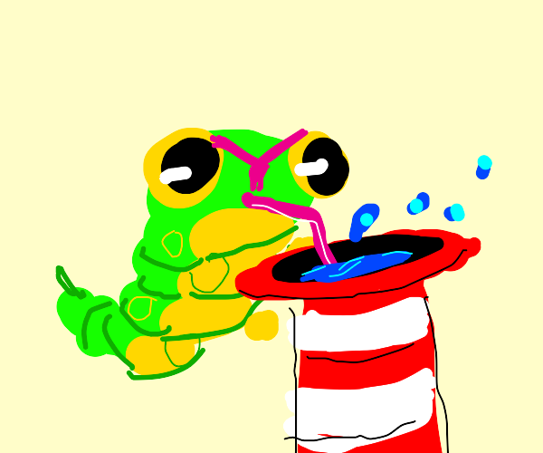 caterpie drinks from dr.suess hat