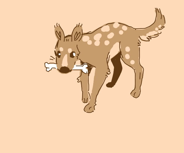 A deer, dog hybrid holding a bone in mouth