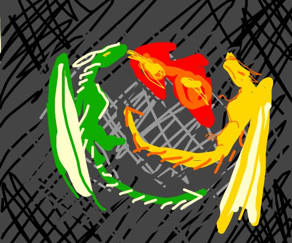 FireBreathingGreenDragon fights yellow dragon
