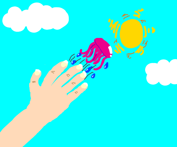 Throwing a jellyfish at the sun