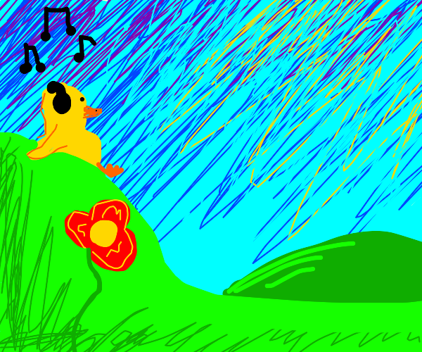 Duck listens to music on a hill