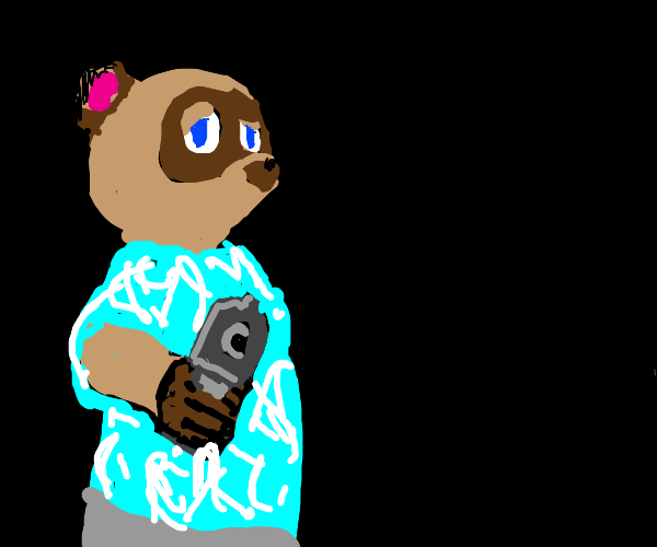 tom nook points a gun at you