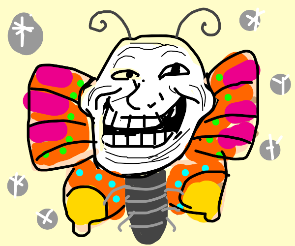 Butterfly with a troll face