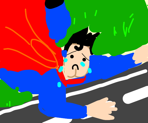 Sad Superman sticks his hand in road