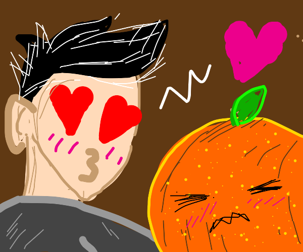 Man in love with orange (the fruit)