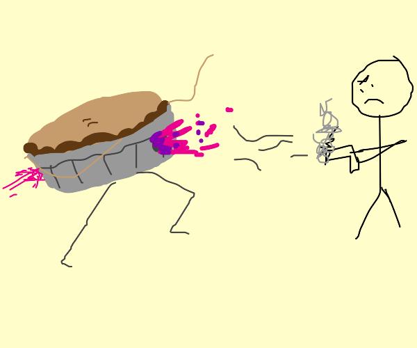 Pie being shot by a man